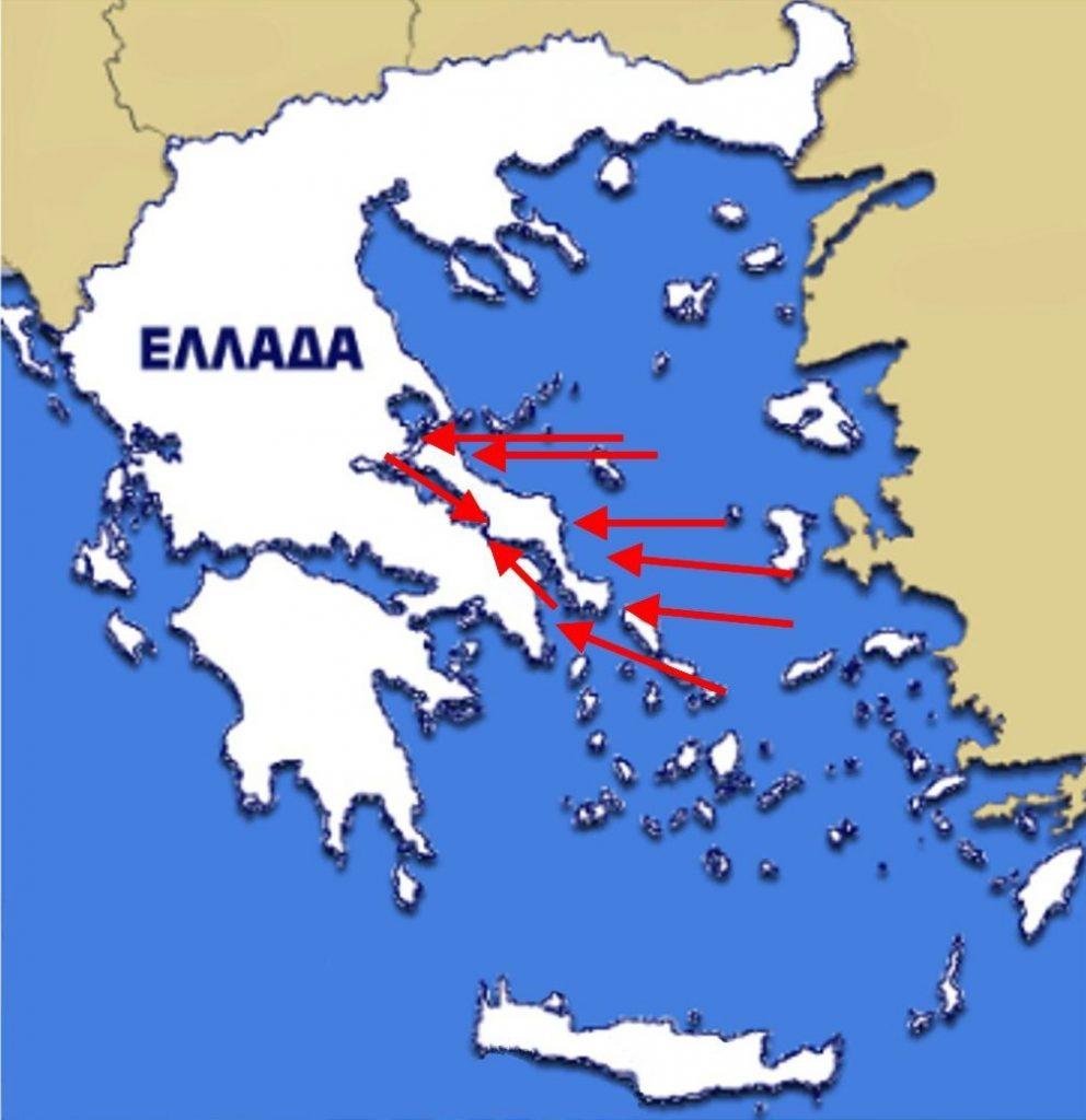 Εικόνα 5: Η φορά του διχασμένου παλιρροϊκού κύματος του  Αιγαίου όπως αυτό εισέρχεται στο Νότιο και Βόρειο Ευβοϊκό κόλπο. Το κύμα  που μπαίνει στο Νότιο Ευβοϊκό Κόλπο φθάνει στο στενό του Ευρίπου 1 ώρα  και 15 λεπτά νωρίτερα από το κύμα που φθάνει από το βορρά γιατί η  διαδρομή που ακολουθεί είναι μικρότερη. Έτσι, οι περισσότεροι υδάτινοι  όγκοι φθάνουν από τα νότια νωρίτερα, με αποτέλεσμα να ανεβάζουν τη  στάθμη στο μέρος εκείνο κατά 30 ως 40 εκατοστά, οπότε δημιουργείται το  ρεύμα από τα νότια προς τα βόρεια. Μετά 6 ώρες αντιστρέφονται οι  συνθήκες γιατί εν τω μεταξύ φθάνει στο στενό το κύμα που μπήκε στο  Βόρειο Ευβοϊκό Κόλπο και έτσι ανεβαίνει η στάθμη στο βόρειο μέρος του  στενού με αποτέλεσμα να αντιστρέφεται το ρεύμα.